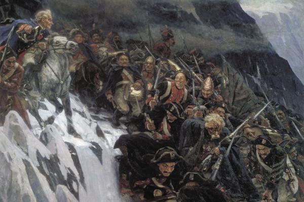 Суриков, Переход Суворова через Альпы (фрагмент)
