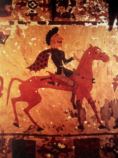 Скифский всадник из страны, в которую вторглись юэчжи, 300 до н. э. Пазырыкская культура