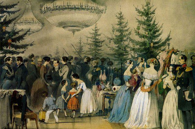 Сцены из семейной жизни императора Николая I. Рождественская елка в Аничковом дворце Чернышев А.Ф.