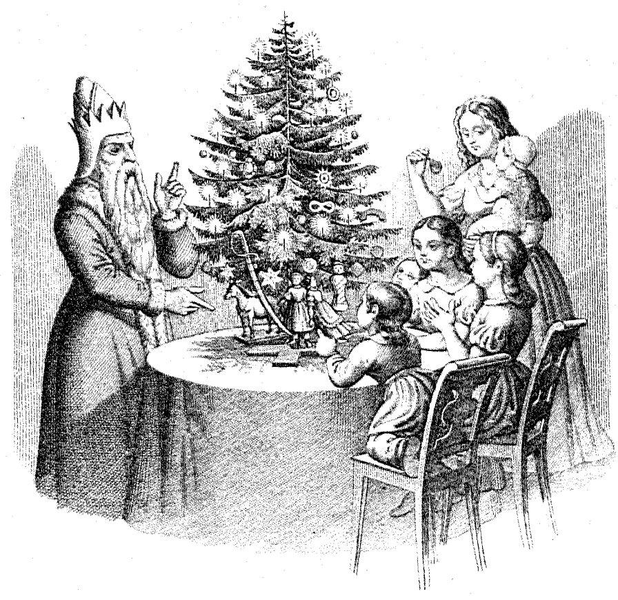 Дети и Санта Клаус у «дерева Клауса» (нем. Klausbaum).